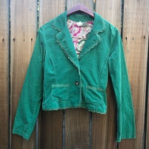 BKE green lace trim blazer jacket sweater M